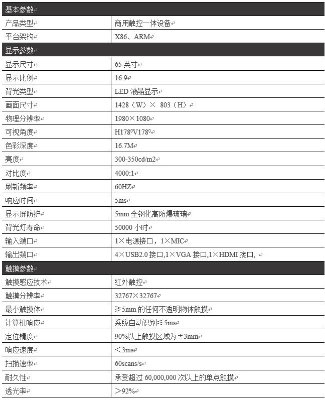 65寸壁挂触摸一体机/教学一体机PZ-65BHT--广州磐众智能科技有限公司