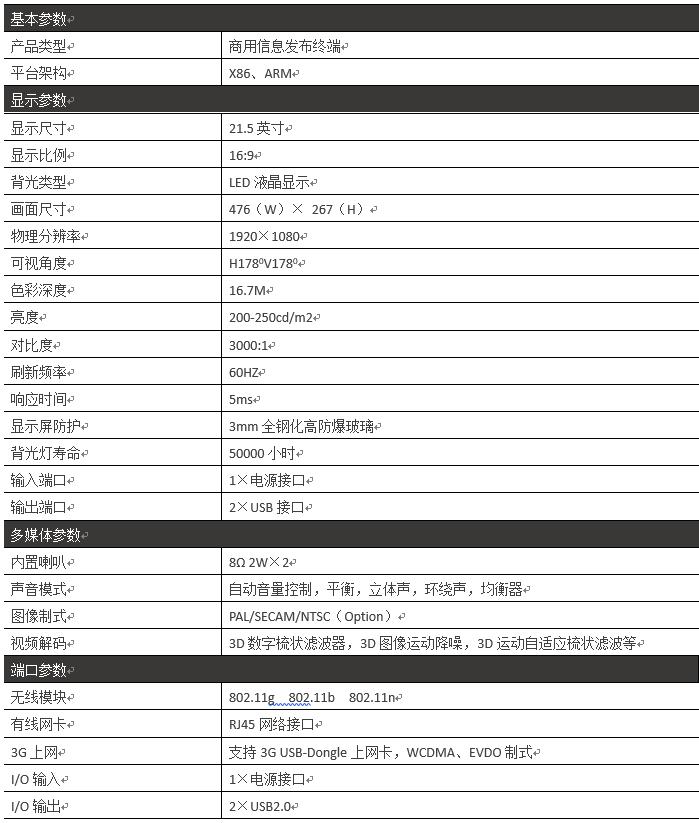 21.5寸壁挂式横屏广告机PZ-21.5BE2--广州磐众智能科技有限公司