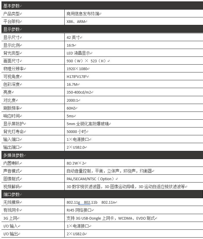 42寸壁挂式广告机PZ-42BE--广州磐众智能科技有限公司