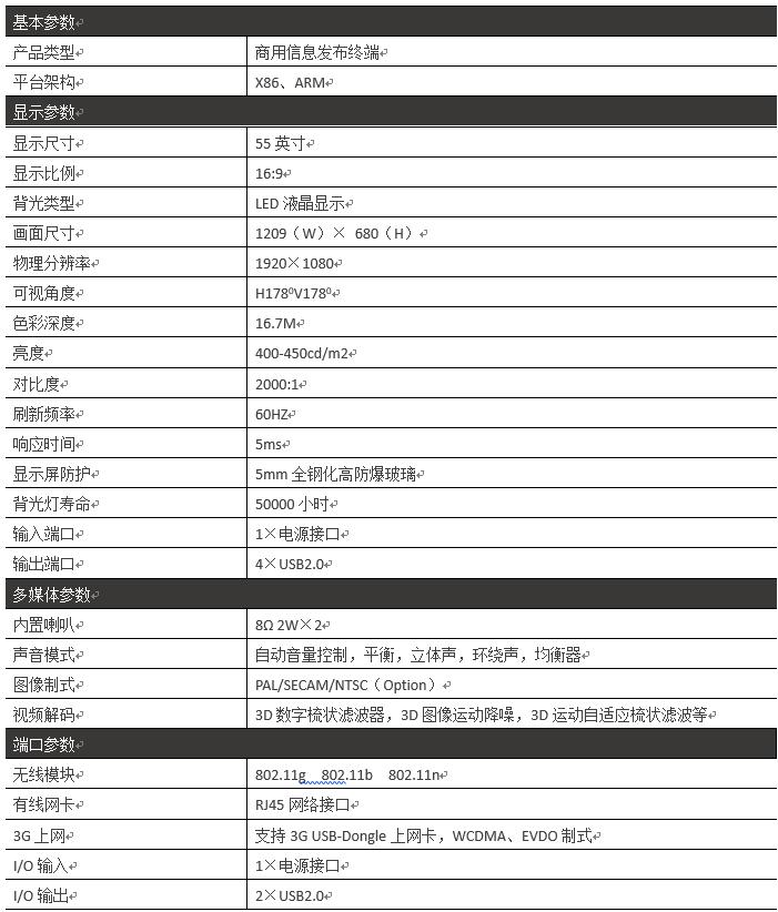 55寸壁挂式广告机PZ-55BE--广州磐众智能科技有限公司
