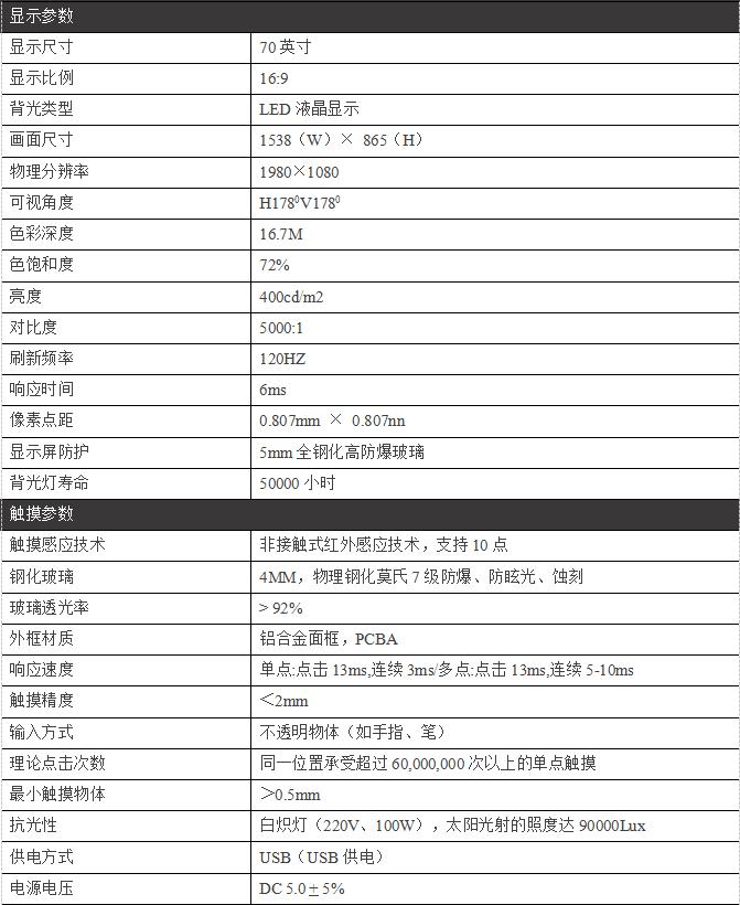 70寸壁挂触摸一体机/教学一体机PZ-70BHHA--广州磐众智能科技有限公司