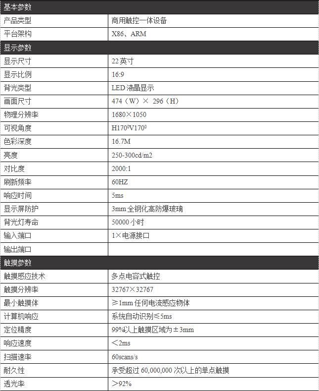 22寸嵌入式触摸一体机/PZ-22BDET--广州磐众智能科技有限公司