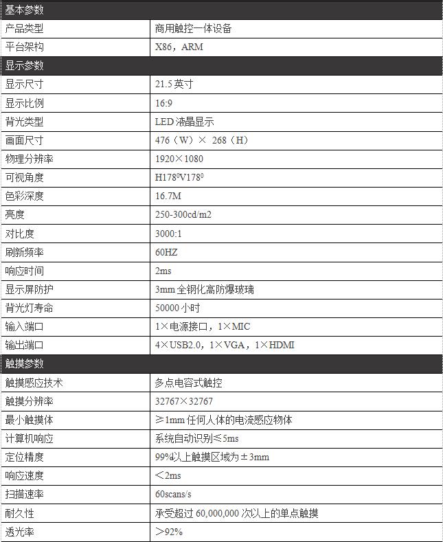 21.5寸壁挂式触摸一体机PZ—21.5BDH--广州磐众智能科技有限公司